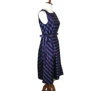 Banana Republic Striped Tie Pattern Dress Blue